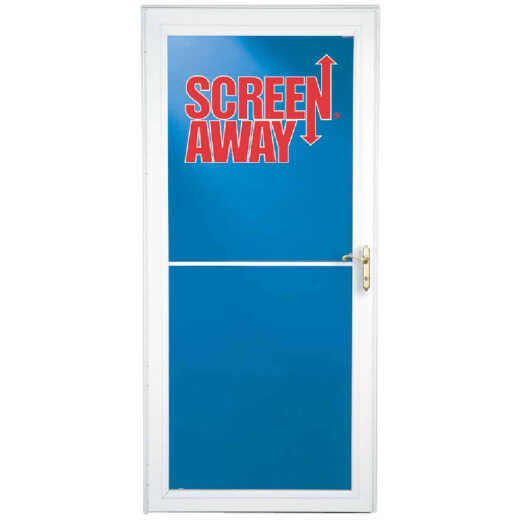 Larson Screenaway Lifestyle 32 In. W x 81 In. H x 1-3/8 In. Thick White Full View Aluminum Storm Door