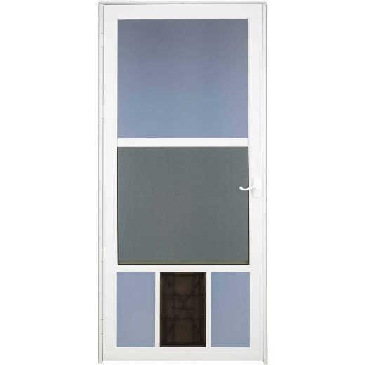 Larson Metal Tech 36 In. W x 81 In. H x 1-1/4 In. Thick White Classic View Storm Door With Pet Door