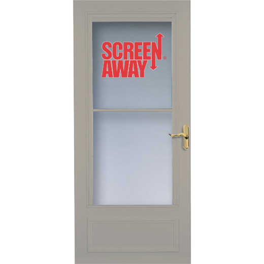 Larson Screenaway Lifestyle 36 In. W x 80 In. H x 1 In. Thick Sandstone Mid View DuraTech Storm Door