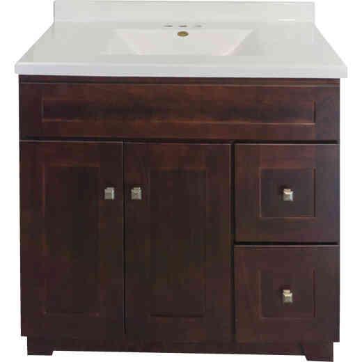 CraftMark CherryVale Shaker Cherry 36 In. W x 34 In. H x 21 In. D Vanity Base, 2 Door/2 Drawer