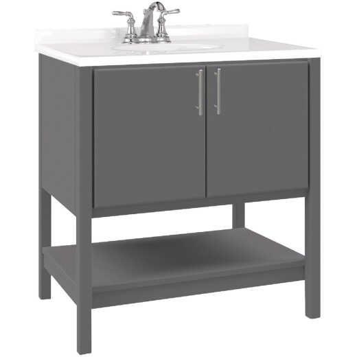 Bertch Essence 30 In. W x 34-1/2 In. H x 21 In. D Graphite Furniture Style Vanity Base, 2 Door