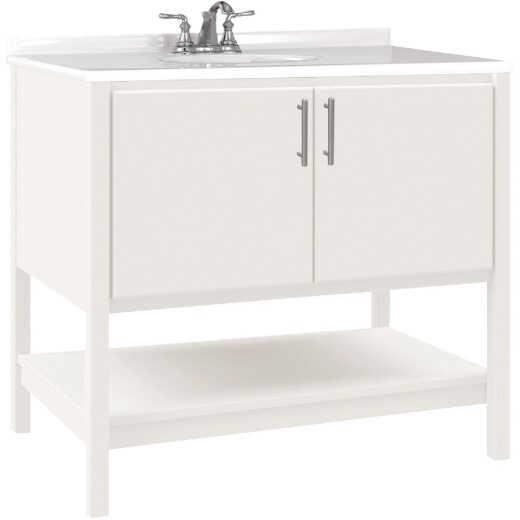 Bertch Essence 36 In. W x 34-1/2 In. H x 21 In. D White Furniture Style Vanity Base, 2 Door