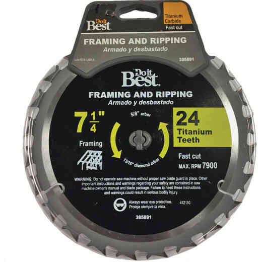 Do it Best Professional 7-1/4 In. 24-Tooth Framing & Ripping Circular Saw Blade