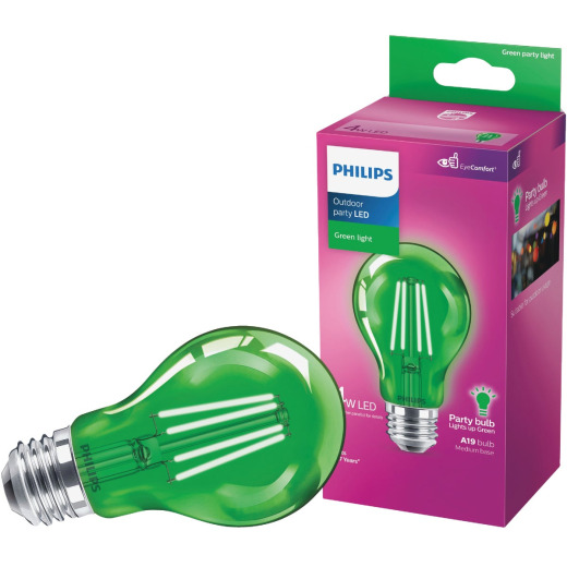 Philips Green A19 Medium 4W Indoor/Outdoor LED Decorative Party Light Bulb