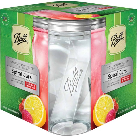 Ball Collection Elite 1 Pint Regular Mouth Spiral Canning Jar (4-Count)