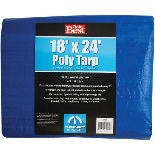 Do it Best Blue Woven 18 Ft. x 24 Ft. Medium Duty Poly Tarp