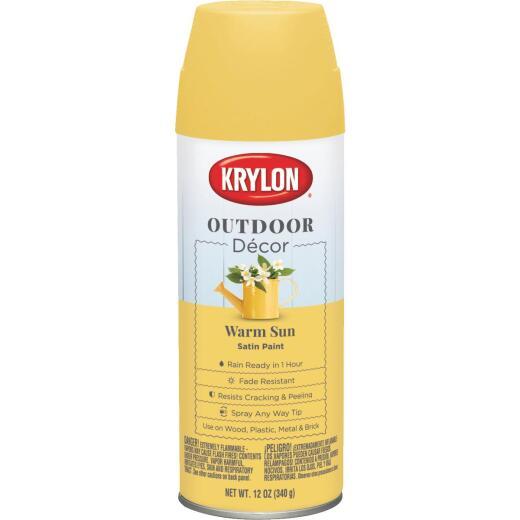 Krylon Outdoor Decor 12 Oz Satin Alkyd Spray Paint, Warm Sun