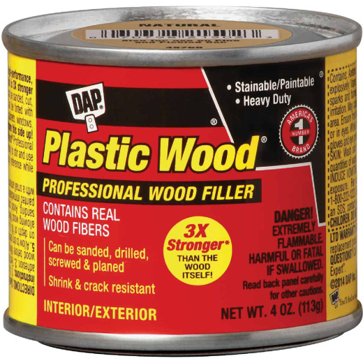 DAP Plastic Wood 4 Oz. Light Oak Solvent Professional Wood Filler