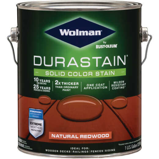 Wolman DuraStain One Coat Solid Color Exterior Stain, Natural Redwood 1 Gal.