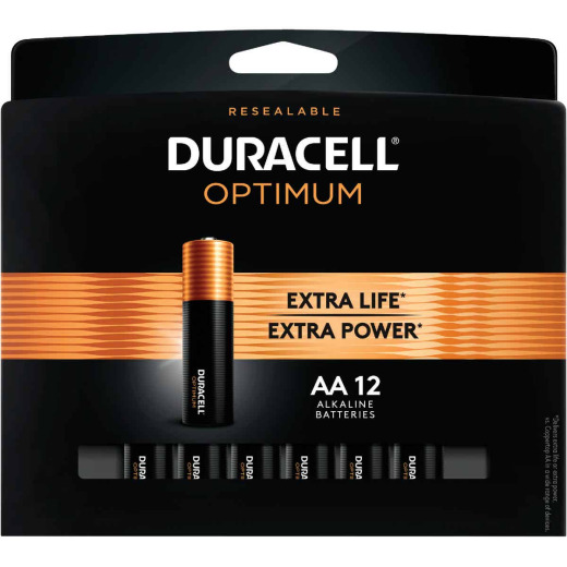 Duracell Optimum AA Alkaline Battery (12-Pack)